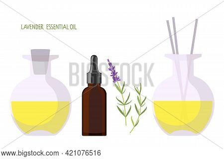 Organic Health Care Products. Bottles With Natural Aroma Oil, Medical Herbs, Aroma Diffuser For Well