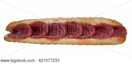 Long Sandwich With Sausage Isolated On White Background. Quick Lunch - Sesame Bun And Salami Filling