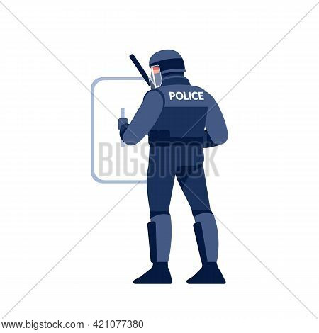 Riot Police Officer In Uniform, Helmet With Shield And Baton. Cartoon Flat Style Character Design Ve