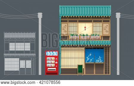 Shop Modified From Traditional Wooden Building In Japan. Vector, Isolated With Plain Color Backgroun