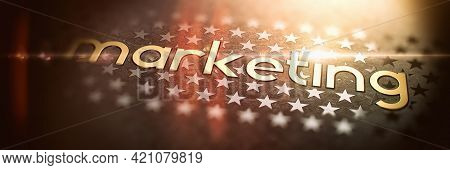 Marketing - Luxury Gold Word On Blurred Dark Background With Stars. Shiny Golden Text In Rays And Su