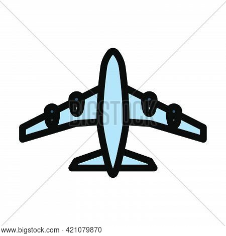 Airplane Takeoff Icon. Editable Bold Outline With Color Fill Design. Vector Illustration.