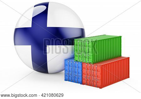 Cargo Containers With Finnish Flag. Freight Shipping In Finland, 3d Rendering Isolated On White Back