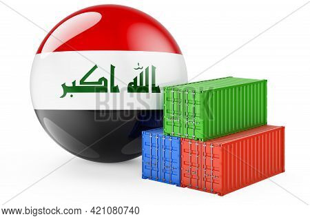 Cargo Containers With Iraqi Flag. Freight Shipping In Iraq, 3d Rendering Isolated On White Backgroun