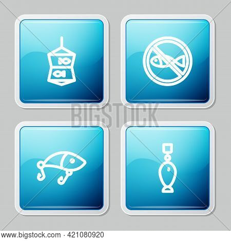 Set Line Fishing Net With Fish, No Fishing, Lure And Spoon Icon. Vector