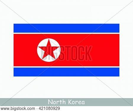 National Flag Of North Korea. North Korean Country Flag. Democratic People's Republic Of Korea Detai