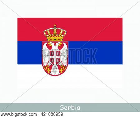 National Flag Of Serbia. Serbian Country Flag. Republic Of Serbia Detailed Banner. Eps Vector Illust