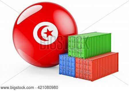 Cargo Containers With Tunisian Flag. Freight Shipping In Tunisia, 3d Rendering Isolated On White Bac