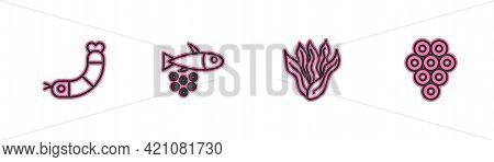Set Line Shrimp, Seaweed, Fish With Caviar And Caviar Icon. Vector