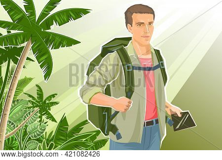Cute Boy Tourist With A Tablet Navigator. Backpack. Against The Backdrop Of A Beautiful Landscape. J