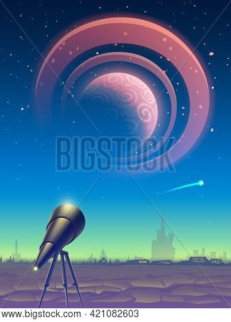 Fantasy Landscape With Telescope And View On Space With Magic Pink Planet Like Jupiter Or Saturn Wit