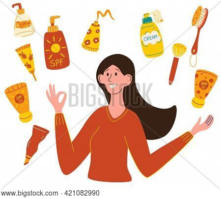 Sun Protection. Beautiful Girl Chooses Sunscreen. Bottle With Sunscreen. Women Use Sun Protection Co