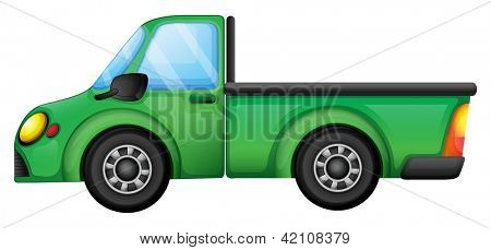 Illustration of a green truck on a white background