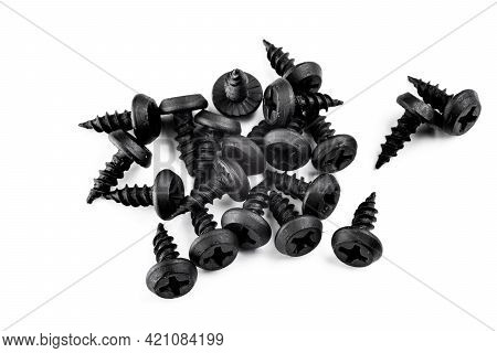 New Screws On A Black Background.new Screws On A Black Background