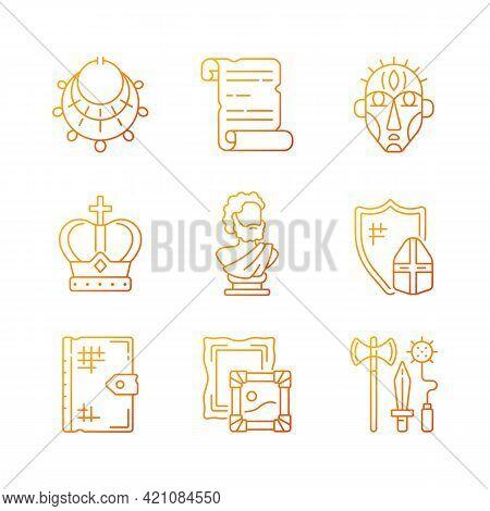 Museum Exhibitions Gradient Linear Vector Icons Set. Ancient Jewelry. Historical Manuscript. Royal C