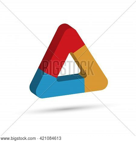 Three-dimensional Triangle Is Divided Into Three Colored Parts. Template For Infographics. Color Des