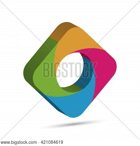 Three-dimensional Quadrilateral Is Divided Into Four Colored Parts. Template For Infographics. Color