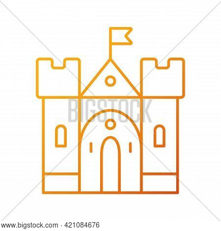 Medieval Castle Gradient Linear Vector Icon. Historic Building. Fortress, Palace. Housing And Fortif