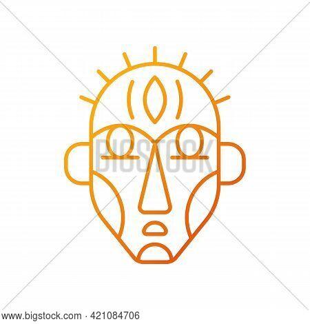Ritual Masks Gradient Linear Vector Icon. Supernatural Beings, Ancestors Representation. Ceremonial