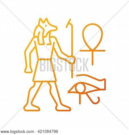 Egyptian Wall Drawings Gradient Linear Vector Icon. Mural Painting. Reliefs. Depicting Ancient Egypt
