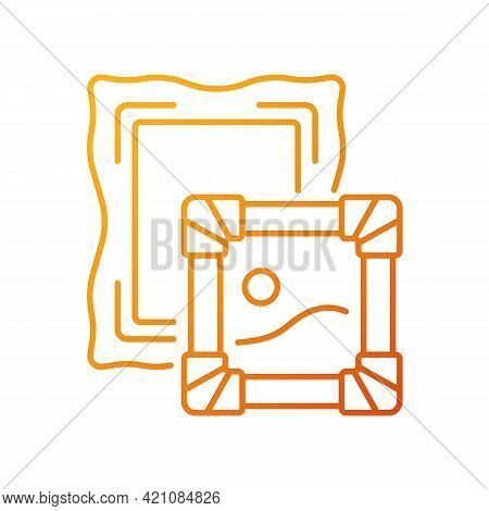 Paintings Gradient Linear Vector Icon. Portraiture, Landscape. Museum Collections. Scenes From Daily