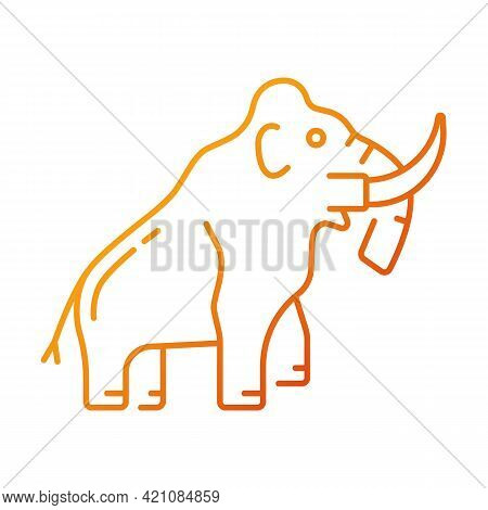 Mammoth Skeleton Gradient Linear Vector Icon. Trunked Mammal. Paleontological Excavation. Elephant-l