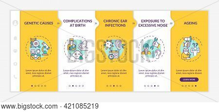Hearing Loss Factors Onboarding Vector Template. Responsive Mobile Website With Icons. Web Page Walk