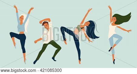 Girl And Guy Dancers In Different Poses, Set Of Vector Characters In Flat Style, Collection Of Moder