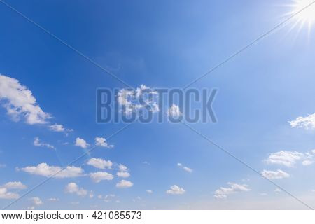 Blue Sky With Clouds With Perspective And Sun With Rays In The Upper Right Corner (light On The Righ