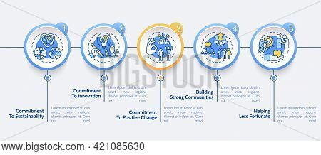 Company Main Values Vector Infographic Template. Commitment, Community Presentation Design Elements.