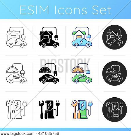 Electric Vehicle Charging Icons Set. Charging Adapter And Converter To Fit Electromobile. Charging B