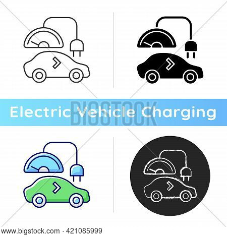 Level 1 Charger Icon. Slowest Way To Charge Battery Of Electronic Vehicle. Long Term Charging Statio