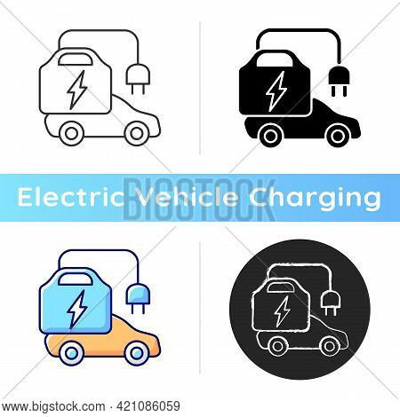 Portable Ev Charger Icon. Charging Station For Electromobiles Which Can Be Transported. Fueling Car