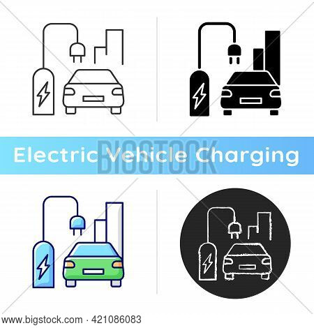 On Street Residential Ev Charging Icon. Charging Stations For Electromobiles On Streets. Place To Ch