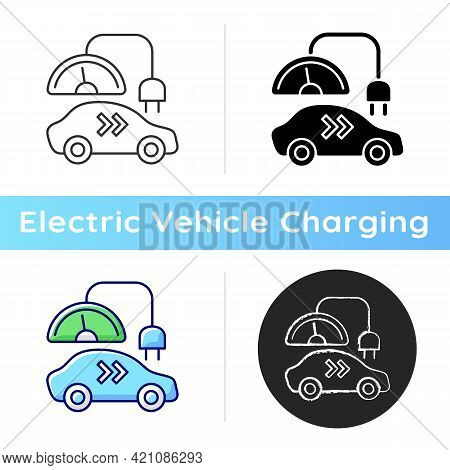 Level 2 Charger Icon. Different Types Of Charging Connectors. Fueling Electromobile With Natural Fue