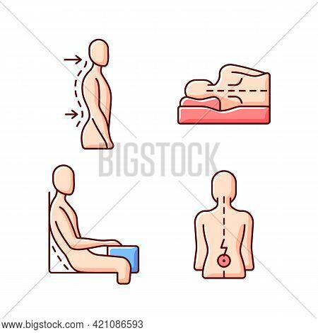 Postural Dysfunction Rgb Color Icons Set. Lumbar Lordosis. Side-lying Sleeping Position. Incorrect S