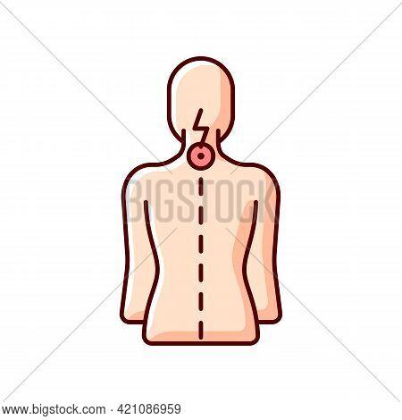Neck Pain Rgb Color Icon. Nerve Root Compression. Cervical Radiculitis. Pressure On Spinal Nerves. S