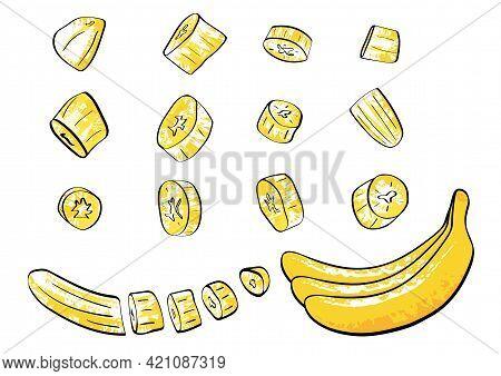 Bananas And Banana Slices, A Peeled Banana And A Bunch Of Bananas Isolated On White Background, Grun