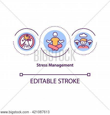 Stress Management Concept Icon. Mental Health. Burnout Prevention. Psychological Strategy. Self Cont