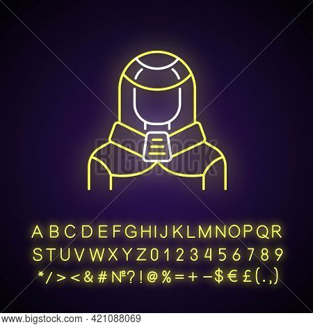 Protection Suit Neon Light Icon. Robotic Person, Cyborg. Human In Cyberpunk Costume. Outer Glowing E