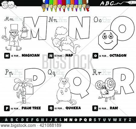 Black And White Cartoon Illustration Of Capital Letters From Alphabet Educational Set For Reading An