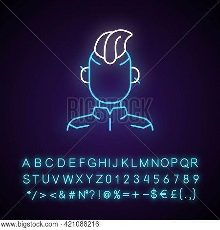 Cyberpunk Person Neon Light Icon. Punk Subculture, Goth Teenager. Cyberpunk Movie, Game. Outer Glowi