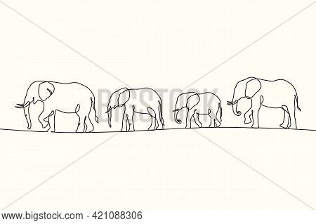 Linear Elephant Herd. Animal Family Outline. Continuous Single Line