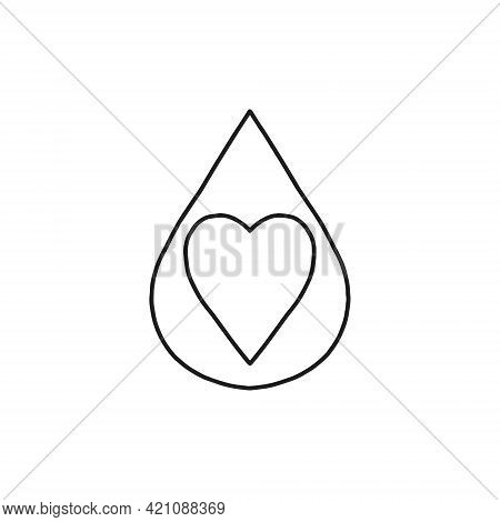 Heart Droplet Icon Inside. Universal Illustration, Perfect For The Internet And Other Graphic Design