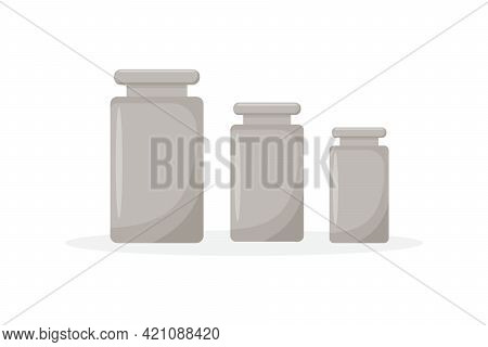 Calibration Weights Realistic Isolated Vector Illustrations Set. Mass Measurement Equipments In Gram