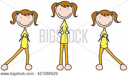 Cartoon Vector Illustration Of A Girl Exercising - Alternating Side Lunge