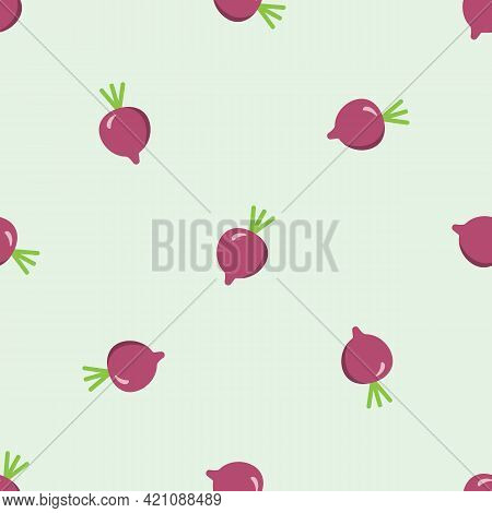 Beet Pattern. Seamless Texture With Ripe Beetroot. Use As A Pattern Fill