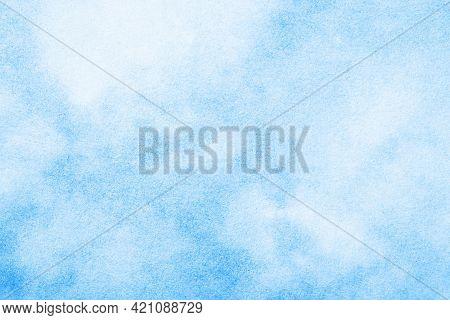 Blue Ink Splashes On White Paper. Spray Paint Grain Background. Heaven Texture. Blue Cloudy Sky Abst