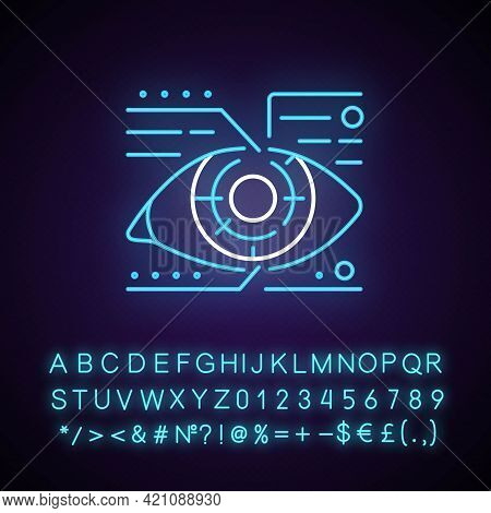 Lens Microcircuit Neon Light Icon. Android Eye With Specs Info. Cyberpunk Face Augmentation. Outer G