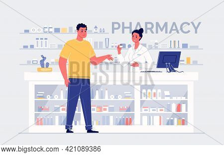 Cartoon Characters Pharmacist And Customer Standing At The Counter With Medicines. Medical Healthcar